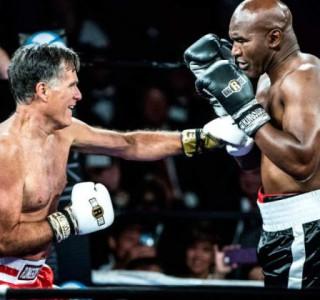 Ringben jótékonykodott Holyfield (nyugdíjas bokszoló) és Romney (nyugdíjas politikus)